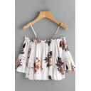 Fashion Allover Flower Printed Lace Patched 3/4 Sleeves Cold Shoulder Ruffled Pleated Relaxed Crop Blouse in White