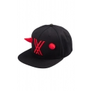 Cool Cross Stripe Embroidered Horn Patched Cap in Black