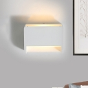 Simple Mini Box Flush Wall Sconce Plaster Single Sitting Room Wall Mounted Lamp in White