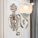 Silver Bloom Wall Mounted Lamp Countryside Clear Ribbed Glass 1/2-Light Bedroom Wall Light