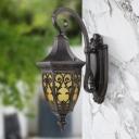 Urn Outdoor Wall Light Fixture Retro Yellow Glass 1 Light Black Wall Mounted Lighting