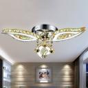 Beveled K9 Crystal Leaf Semi Flush Modern Stylish Hotel LED Ceiling Light in Chrome