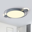 Iron Circle Ceiling Flush Mount Simple LED Flush Light Fixture with Acrylic Shade in Black/Grey/White for Bedroom