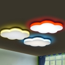 Cloud Kindergarten Ceiling Flush Light Cartoon Acrylic LED Flush Mount Recessed Lighting in Red/Yellow/Green