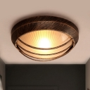 Dome Corridor Flush Mount Countryside Prismatic Frosted Glass 1-Light Bronze Flushmount with Cage