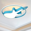 LED Nursery Ceiling Flush Kids Blue Flush Mount Lighting Fixture with Car/Dolphin/Elephant Acrylic Shade
