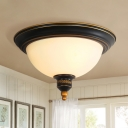 Black Cap Shape Ceiling Lighting Retro Matte Glass 3-Head Dining Room Flush Mount Light with Finial