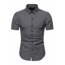 Basic Mens Checkered Printed Short Sleeve Point Collar Button up Curved Hem Fitted Shirt Top