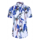 Beach Boys All over Tree Printed Short Sleeve Turn-down Collar Button up Slim Fit Shirt Top