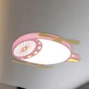 Kids Plane Flush Light Fixture Metal LED Bedroom Flush Mount Recessed Lighting in Pink/Blue