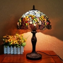 Coffee 1 Head Night Lamp Baroque Stained Glass Spiral Leaf Nightstand Light for Bedside