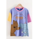 Purple Letter Circus Cartoon Bear Elephant Graphic Contrasted Short Sleeve Crew Neck Loose Fit Preppy T Shirt for Girls