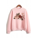 Womens Letter In My Blood Flower Graphic Long Sleeve Mock Neck Loose Fit Pullover Trendy Sweatshirt in Pink