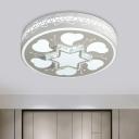 LED Round Flush Mount Light Modern White Cut Crystal Flushmount Lighting with Flower/Star Pattern