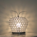 Silver 1 Bulb Table Lamp Modern Beveled Crystal Hat Nightstand Lighting for Bedroom