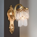 2-Tier Fringe Crystal Wall Mounted Light Antiqued Single Bulb Bedroom Sconce with Brass Carved Backplate