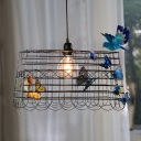 Wire Cage Metal Ceiling Lamp Pastoral 1 Bulb Bedroom Pendant in Black with Butterfly and Bird Decor