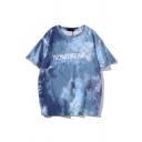 Letter Nowtrend Tie Dye Patterned Short Sleeve Crew Neck Loose Fit Popular T Shirt for Men