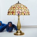 2 Heads Lattice Bowl Nightstand Light Baroque Gold Shell Heart Patterned Desk Lighting with Pull Chain