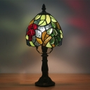 1 Head Desk Lighting Mediterranean Bowl Shade Cut Glass Grapes Patterned Table Lamp in Dark Coffee