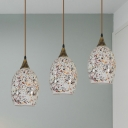 3 Lights Living Room Multi Pendant Baroque Brass Ceiling Suspension Lamp with Oval Stained Glass Shade