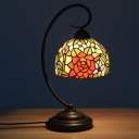 Red/Orange Domed Desk Lighting Mediterranean 1 Bulb Hand Cut Glass Swirl Arm Table Lamp with Rose Pattern