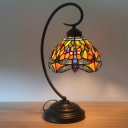Victorian Dragonfly Desk Lighting 1-Light Cut Glass Nightstand Light in Orange/Green with Curvy Arm for Bedroom