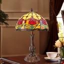 Grid Glass Bronze Nightstand Light Roseborder 1-Light Tiffany Style Table Lamp for Living Room