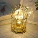 Dome Castle Iron Table Light Contemporary Gold LED Nightstand Lamp with Hanging Hook
