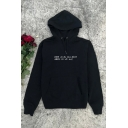 Casual Letter When We Will Fall Asleep Printed Long Sleeve Drawstring Pouch Pocket Relaxed Hoodie in Black