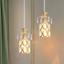 1 Head Dining Room Pendant Light Kit Modern Gold Ceiling Hang Fixture with Drum Crystal Shade