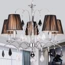 5-Light Conic Chandelier Modern Black Gathered Fabric Pendant Light Fixture with Chrome Swirl Arm