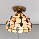 Beige/Blue/Light Blue Single Flushmount Tiffany Style Handmade Shell Beaded/Peacock Feather/Flower Flush Mount Ceiling Light