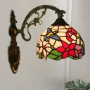 Single Bird and Flower Sconce Light Tiffany Stained Glass 1 Head Bronze Wall Lighting Fixture