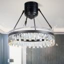Modernist Hoop Semi Flush Light Fixture Beveled Crystal Prisms 48