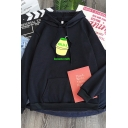 Cool Letter Banana Milk Graphic Long Sleeve Drawstring Pouch Pocket Relaxed Hoodie for Girls