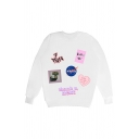 Korean Girls Letter Nasa Graphic Long Sleeve Crew Neck Loose Pullover Sweatshirt