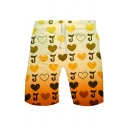 Yellow All over Letter J Heart Graphic Ombre Drawstring Waist Slim Fit Leisure Shorts for Women