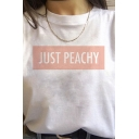 Popular Womens Letter Just Peachy Printed Rolled Short Sleeve Crew Neck Relaxed Fit Tee Top in White