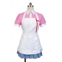 Cute Girls Cosplay Short Sleeve Turn-down Collar Button up Colorblock Mini Pleated A-line Polo Shirt Dress in White
