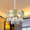 Gold Drum Suspension Light Postmodern Crystal Triangle 9-Bulb Bedroom Chandelier