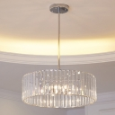 Rectangle-Cut Crystal Ring Chandelier Minimalist 6-Light Dining Room Hanging Pendant in Chrome