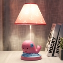 Pink Whale Night Stand Light Cartoon 1 Head Resin Table Lamp with Cone Fabric Shade