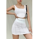 Novelty Womens Solid Color Square Neck Asymmetric Hem Slim Fit Cropped Tank Top in White