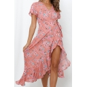 Holiday Womens Allover Floral Printed Short Sleeve Surplice Neck Bow Tie Waist Ruffled Trim Mid Wrap Dress in Pink
