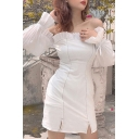 White Classic Womens Solid Color Stringy Selvedge Patchwork off the Shoulder Split Long Sleeve Mini Bodycon Dress