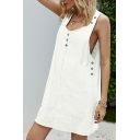 Fashionable Womens Solid Color Sleeveless Scoop Neck Button up Pockets Patched Short Shift Tank Dress