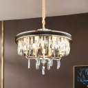 Modern Stylish Drum Chandelier 7 Lights Strip Crystal Hanging Pendant in Black for Living Room