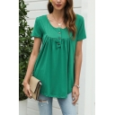 Womens Casual Green Short Sleeve Round Neck Button up Pleated Loose Fit T Shirt
