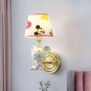 Resin Mouse Wall Mounted Lighting Fixture Cartoon 1 Head Grey Sconce with Patterned Fabric Lampshade